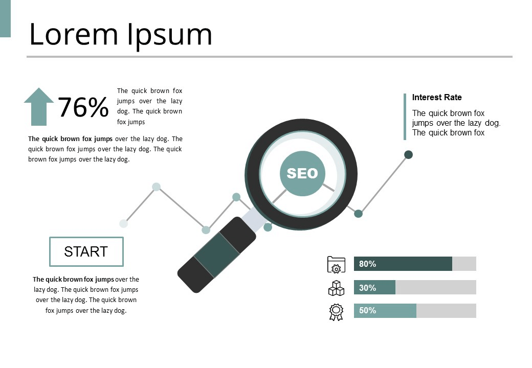 Slide containing a magnifying glass focusing on a circle saying SEO - a graph in the background shows development