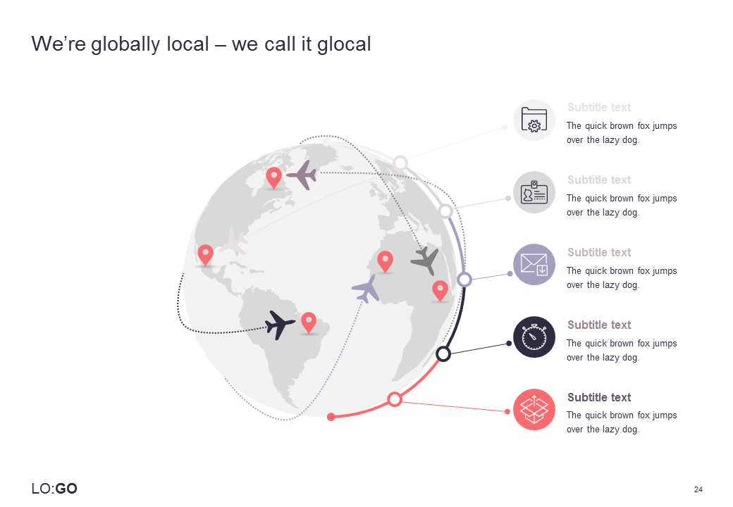 A globus-like icon with marked destinations around the world with planes flying from one destination to another