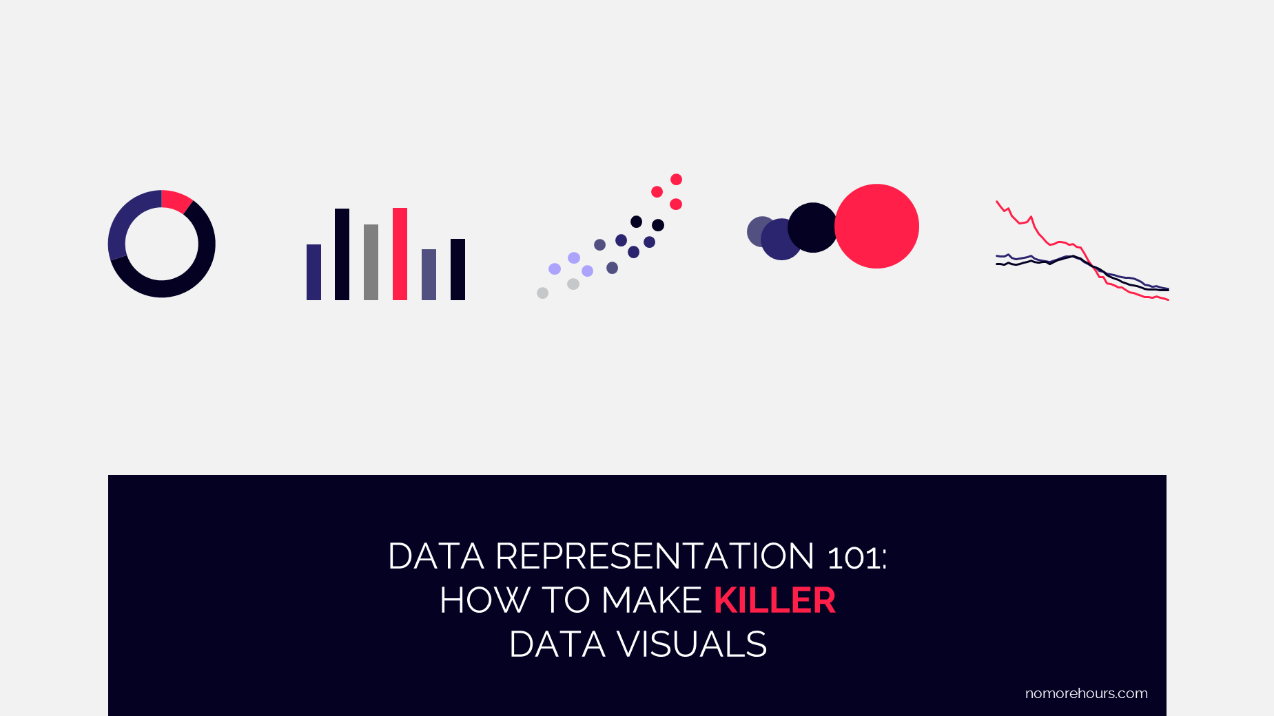 Frontpage of no-more's ebook on how to make killer data visuals