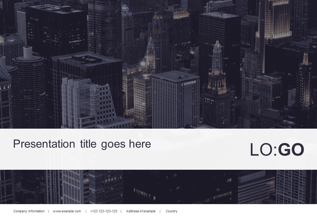 A picture of a PowerPoint fronpage containing office buildings in downtown Chicago